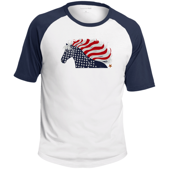 USA Flag Patriotic Horse Colorblock Raglan Jersey