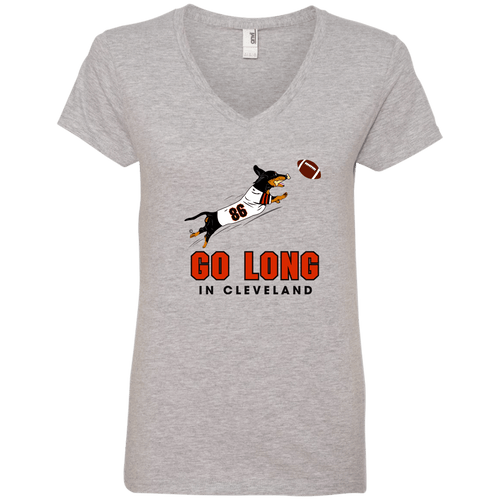 Go Long in Cleveland Ladies' V-Neck T-Shirt