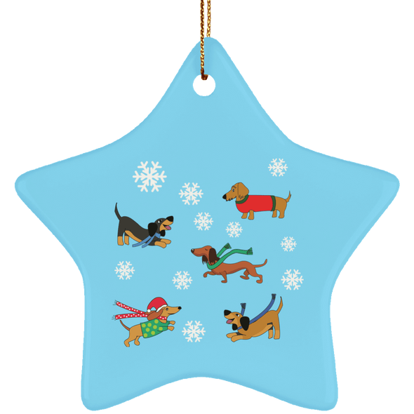 Dachshunds in Snowflakes Ceramic Star Ornament