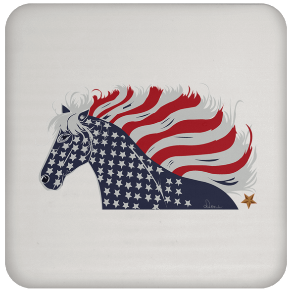 USA Flag Patriotic Horse Coaster