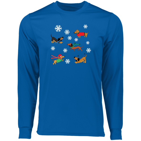 Dachshunds in Snowflakes Longsleeve Wicking T-Shirt