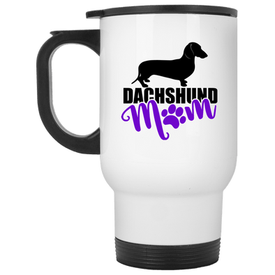 Dachshund Mom Shorthair (Purple) 14 oz. Stainless Steel Travel Mug