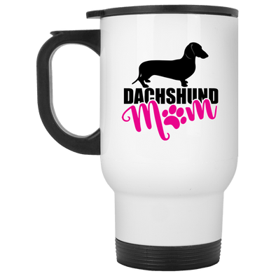 Dachshund Mom Shorthair (Pink) 14 oz. Stainless Steel Travel Mug