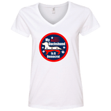 My Dachshund Is A Democrat Ladies' V-Neck T-Shirt