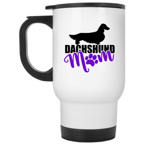 Dachshund Mom Longhair (Purple) 14 oz. Stainless Steel Travel Mug