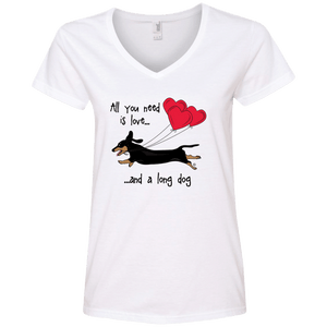 All You Need Is Love (B&T) Ladies' V-Neck T-Shirt
