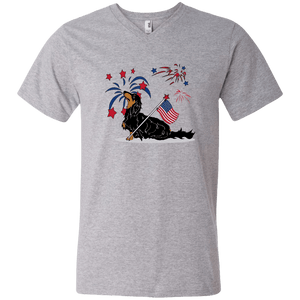 Patriotic Longhair B&T Men's V-Neck T-Shirt
