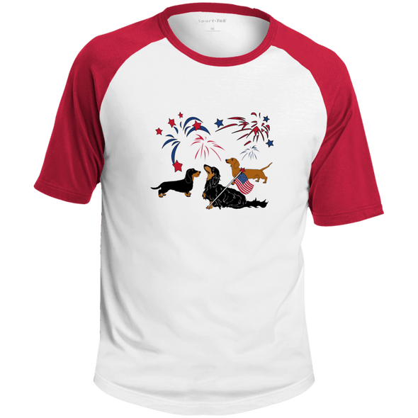 Patriotic Dachshunds Colorblock Raglan Jersey
