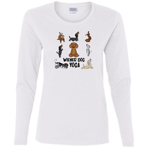 Wiener Dog Yoga Ladies' Cotton LS T-Shirt