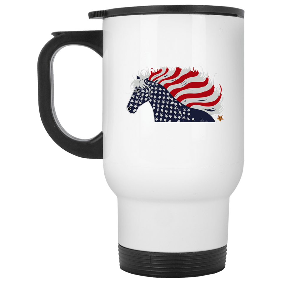 USA Flag Patriotic Horse 14 oz. Stainless Steel Travel Mug