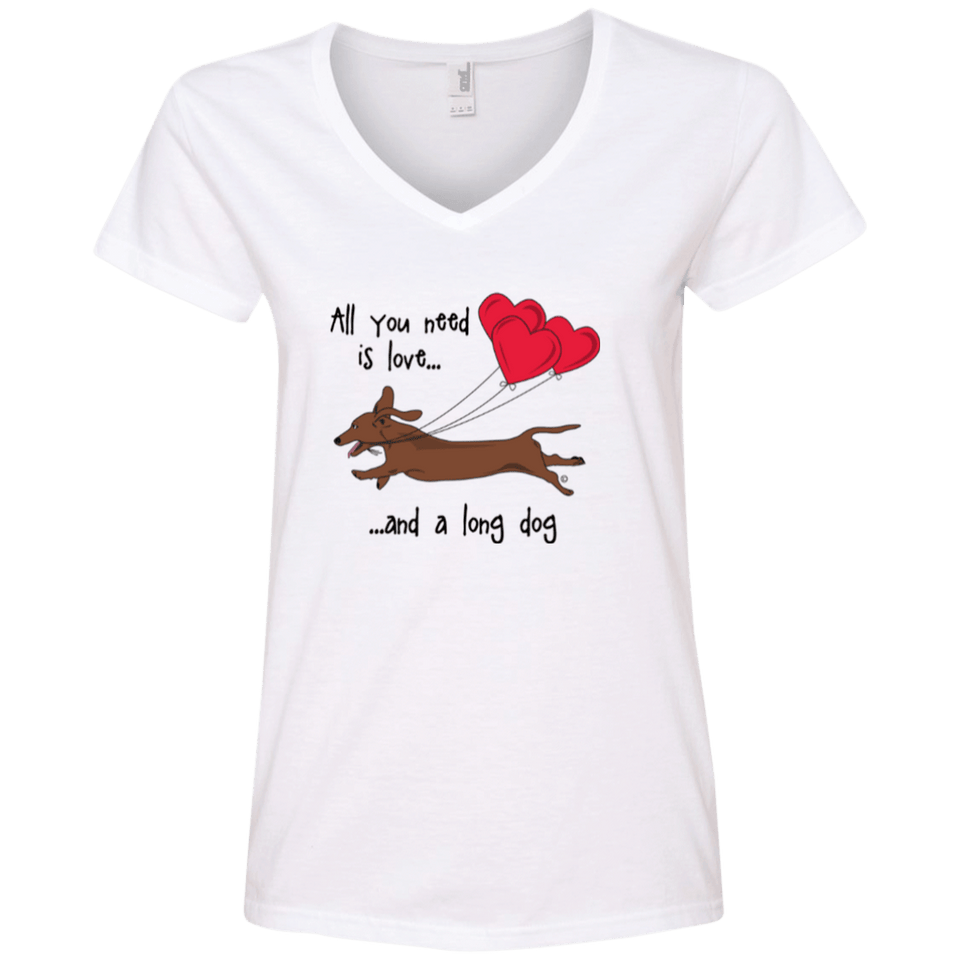 All You Need Is Love (Red) Ladies' V-Neck T-Shirt