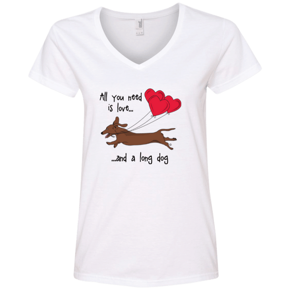 All You Need Is Love SH (Red) Ladies' V-Neck T-Shirt