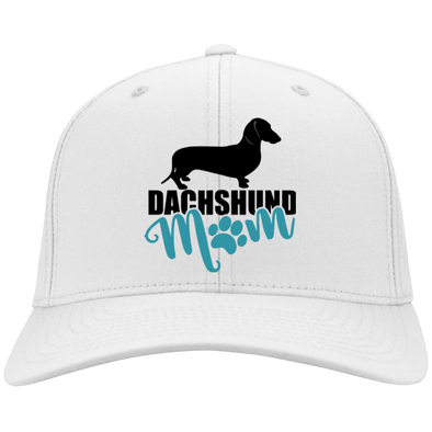 Dachshund Mom Shorthair (Teal) Embroidered Flex Fit Twill Baseball Cap