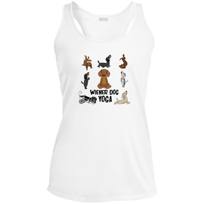 Wiener Dog Yoga Ladies' Racerback Moisture Wicking Tank