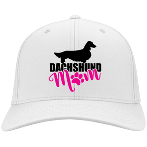 Dachshund Mom Longhair (Pink) Embroidered Flex Fit Twill Baseball Cap