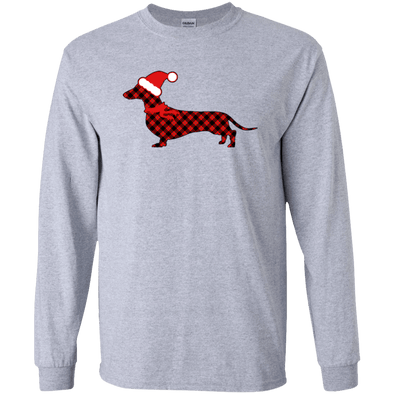 Red Plaid Santa Doxie Unisex LS Ultra Cotton T-Shirt