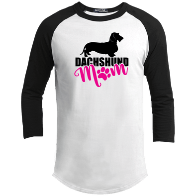 Dachshund Mom Wirehair (Pink) 100% Cotton Baseball Jersey