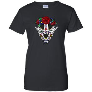Canine Sugar Skull Ladies' 100% Cotton T-Shirt