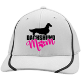Dachshund Mom Longhair (Pink) Embroidered Flexfit Colorblock Cap