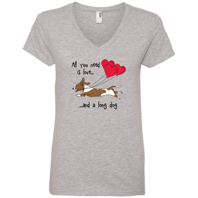 All You Need Is Love SH (Red Piebald) Ladies' V-Neck T-Shirt