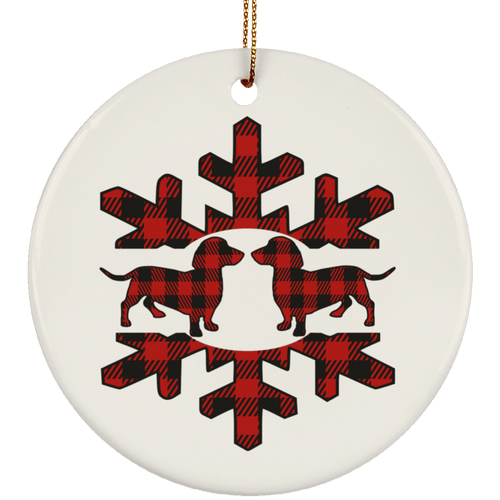 Plaid Snowflake Dachshunds Ceramic Circle Ornament