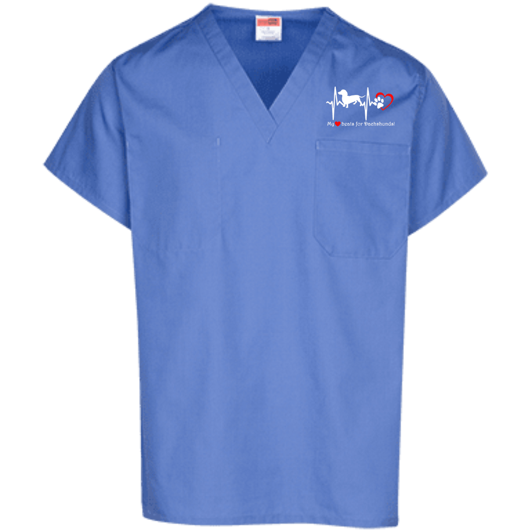 My Heart Beats For Dachshunds Embroidered Scrub Top