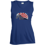 USA Flag Patriotic Horse Ladies' Sleeveless Moisture Absorbing V-Neck