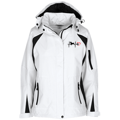 Dachshund Heartbeat Ladies' Embroidered Hooded Jacket (white)