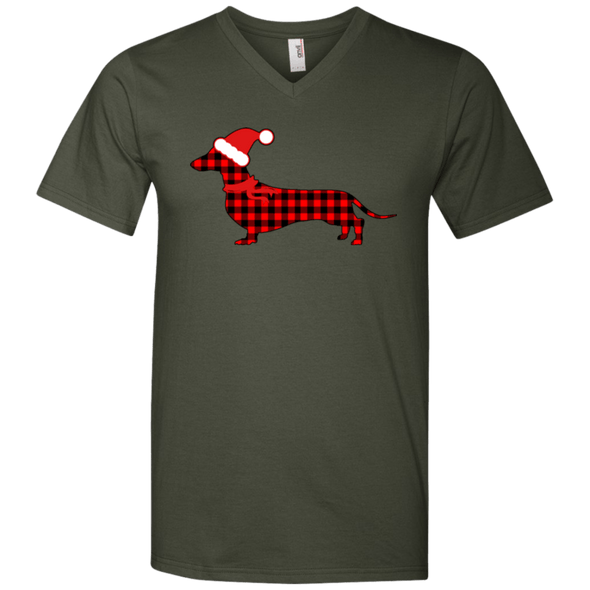 Buffalo Red Plaid Santa Doxie Men's V-Neck T-Shirt