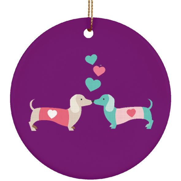 Kissing Doxies Ceramic Circle Ornament