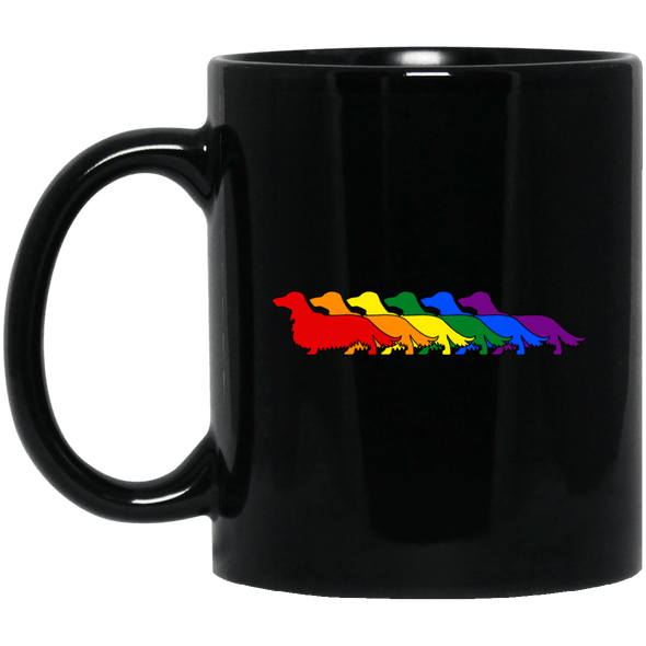 Rainbow Pride Longhair Dachshunds 11 oz. Black Ceramic Mug