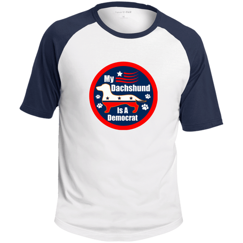 My Dachshund Is A Democrat Colorblock Raglan Jersey