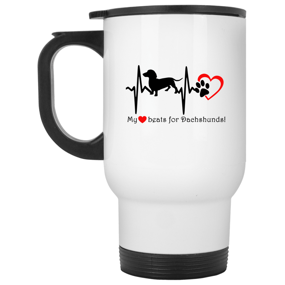 My Heart Beats For Dachshunds 14 oz Stainless Steel Travel Mug