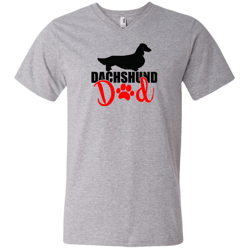Dachshund Dad Longhair (Red) Men's V-Neck T-Shirt