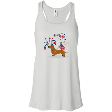 Patriotic Wirehair Red Juniors' Flowy Racerback Tank