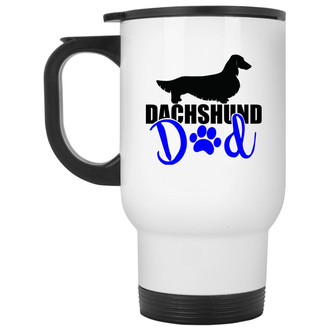 Dachshund Dad Longhair (Blue) 14 oz. Stainless Steel Travel Mug