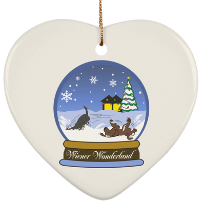 Snow Globe Christmas Ceramic Heart Ornament