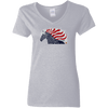 USA Flag Patriotic Horse Ladies' V-Neck T-Shirt