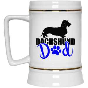 Dachshund Dad Wirehair (Blue) 22 oz. Ceramic Beer Stein