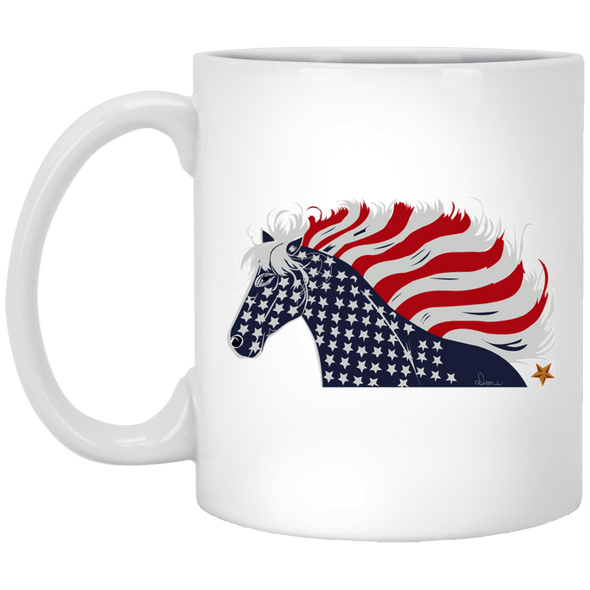 USA Flag Patriotic Horse 11 oz. Ceramic Mug