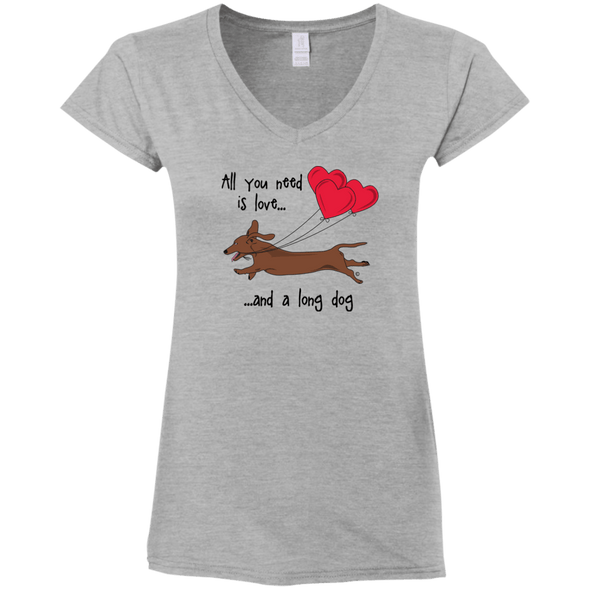 All You Need Is Love (SH Red) Ladies' Fitted Softstyle V-Neck T-Shirt