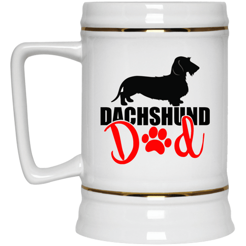 Dachshund Dad Wirehair (Red) 22 oz. Ceramic Beer Stein