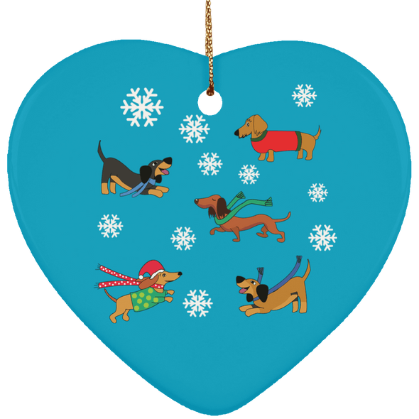Dachshunds in Snowflakes Ceramic Heart Ornament