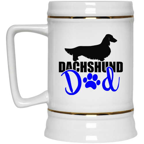 Dachshund Dad Longhair (Blue) 22 oz. Ceramic Beer Stein