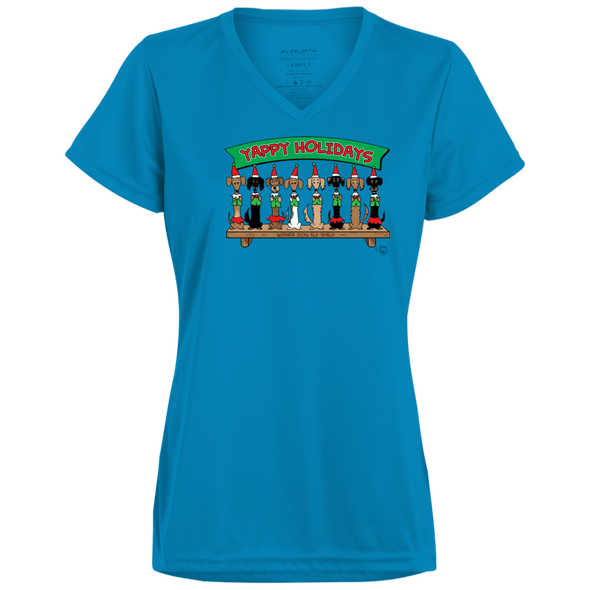 Wiener Dog Elf Shelf Ladies' Wicking T-Shirt