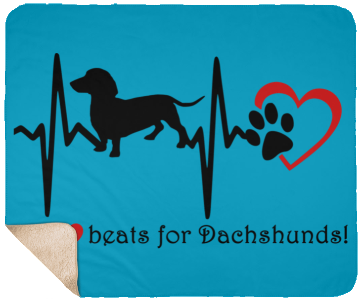 My Heart Beats For Dachshunds Fleece Sherpa Blanket - 50x60
