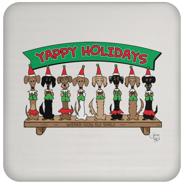 Wiener Dog Elf Shelf Coaster
