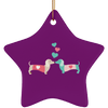 Kissing Doxies Ceramic Star Ornament