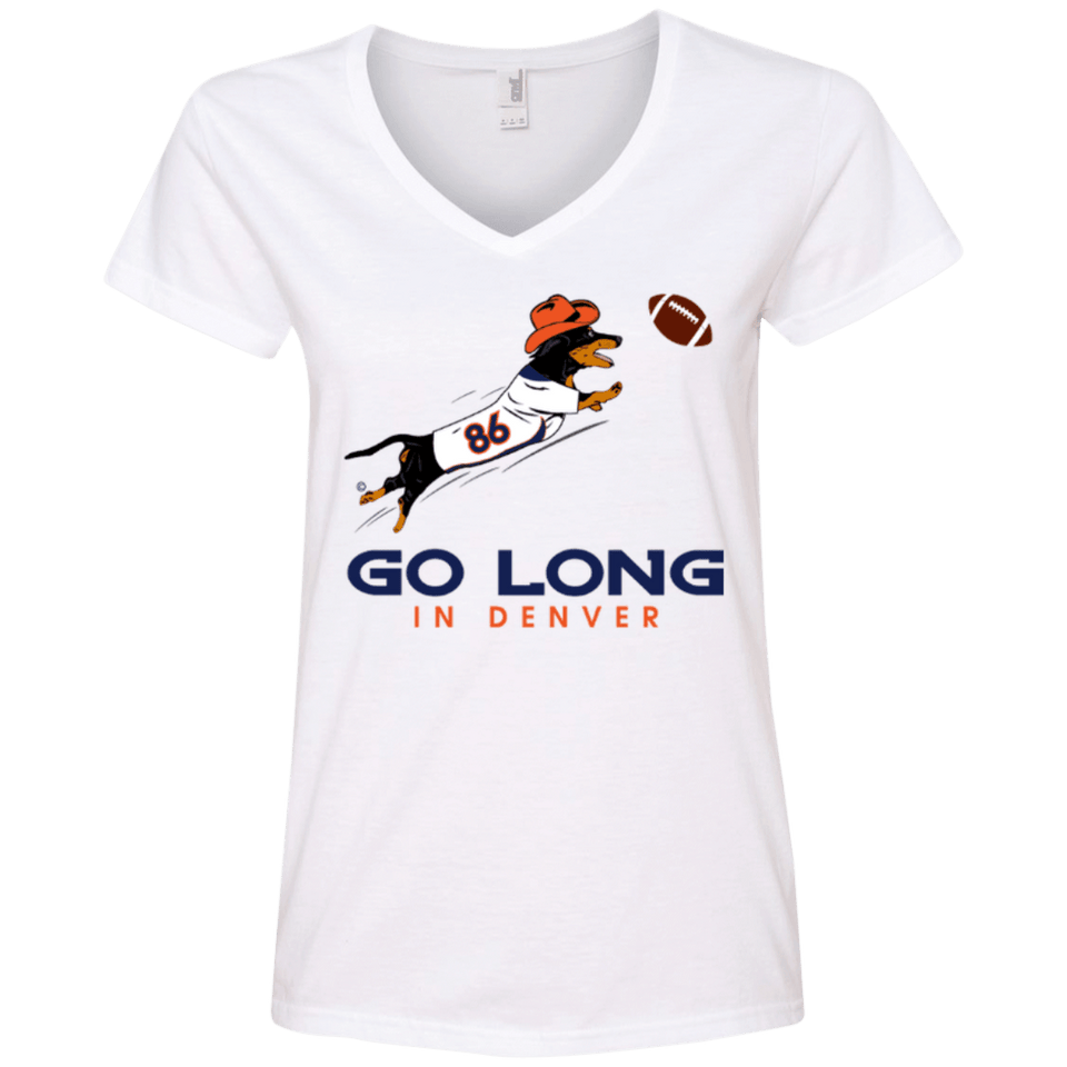 Go Long Denver Ladies' 100% Ringspun Cotton V-Neck T-Shirt