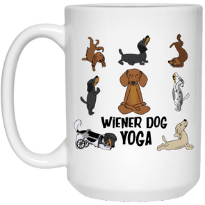 Wiener Dog Yoga 15 oz. Ceramic Mug